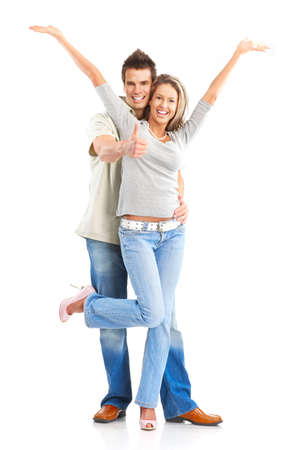 Happy smiling couple in love. Over white background Stok Fotoğraf