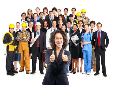 Business woman and business people . Over white background  photo