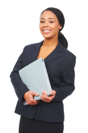 Successful business woman. Isolated over white background  photo