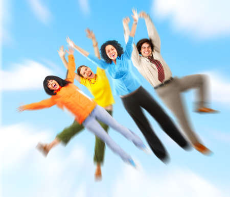 Happy funny people flying in blue sky  photo