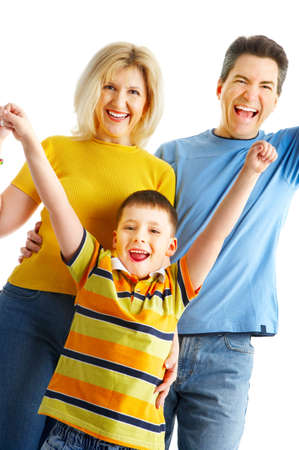 Happy family. Father, mother and boy over white background Stock Photo - 4903653