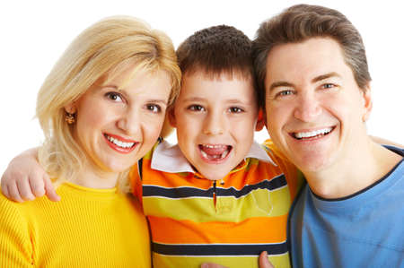 Happy family. Father, mother and boy over white background Stock Photo - 4903700