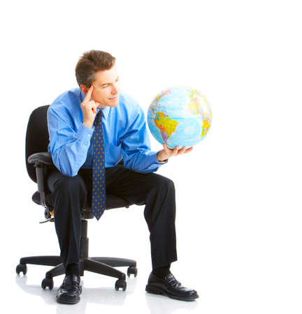 capability: businessman  with globe. Isolated over white background