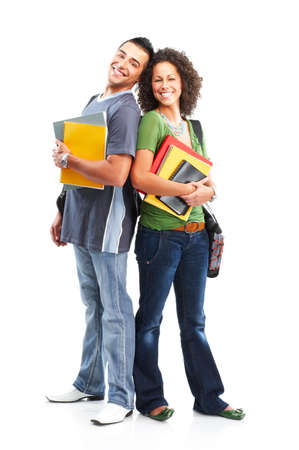 student book: Young smiling  students. Isolated over white background