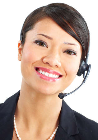 Beautiful  call center operator with headset. Over white background   photo