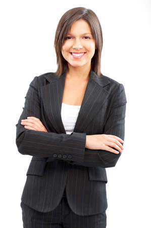 woman isolated: Smiling business woman. Isolated over white background  Stock Photo