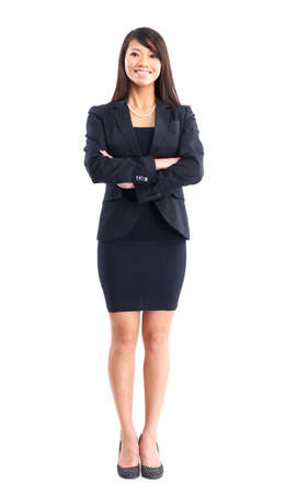 asian office lady: Smiling business woman. Isolated over white background  Stock Photo
