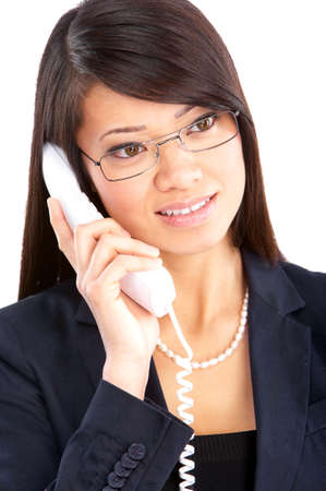 phone business: Young smiling business woman calling by  phone. Over white background  Stock Photo