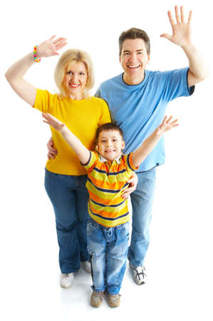 Happy family. Father, mother and boy over white background Stock Photo - 4939471