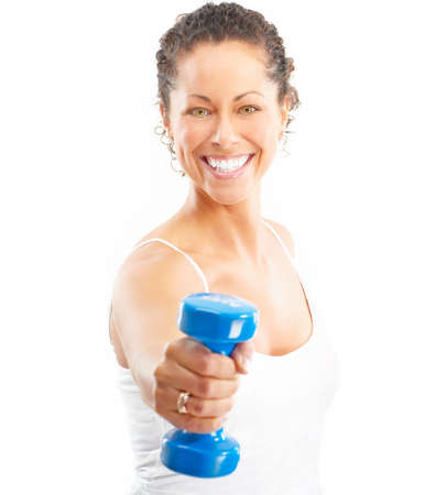 energy work: Woman, fitness, working out, exercise, health.  Isolated over white background