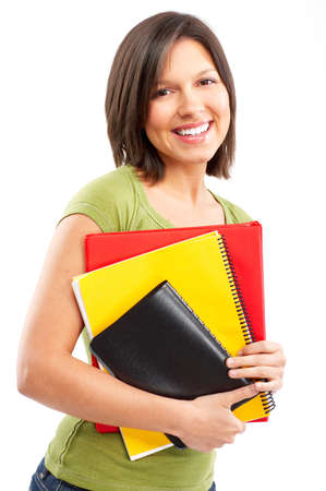 Young smiling  student woman. Over white background Stock Photo - 4939537