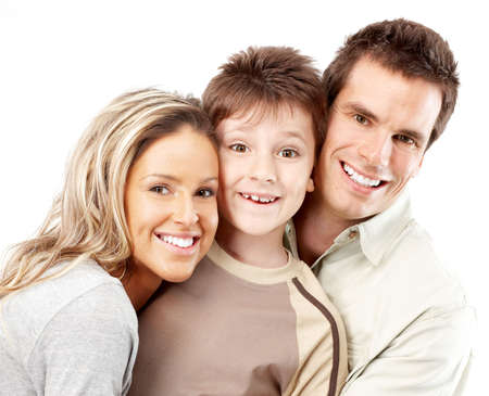 Happy family. Father, mother and boy over white background Stock Photo - 4939501