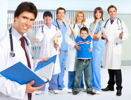 medical doctors: Smiling medical people with stethoscopes. Doctors and nurses    Stock Photo