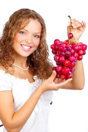 Beautiful young woman with bunch of grape. Stock Photo - 4939371