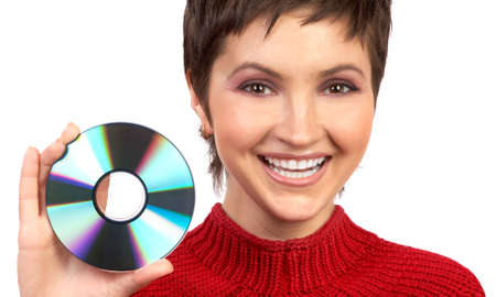 Young beautiful woman holding a cd. Isolated over white background