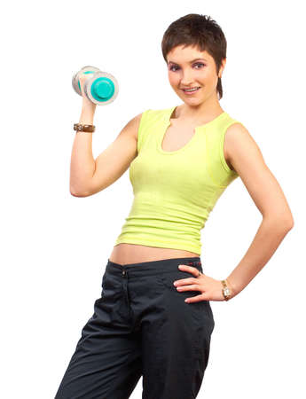 Woman, fitness, working out, exercise, health.  Isolated over white background  photo