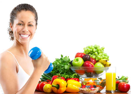 juice fresh vegetables: Woman, fitness, working out, exercise, health.  Isolated over white background
