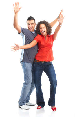 sexy girl dance: Happy smiling couple in love. Over white background