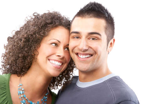 Happy smiling couple in love. Over white background Stock Photo - 4956406