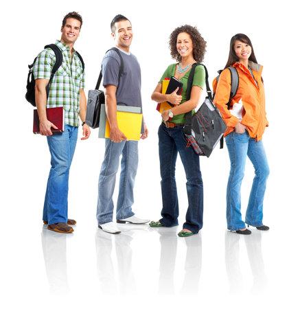 Jong lachend studenten. Geïsoleerde over witte achtergrond Stockfoto - 4963636