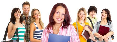 estudiantes universitarios: J�venes sonrientes estudiantes. Aislado sobre fondo blanco Foto de archivo