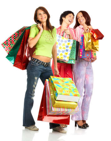 beauty shop: Shopping happy women. Isolated over white background