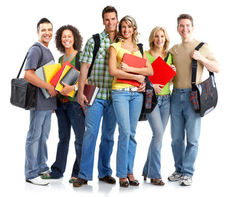 study group: Young smiling  students. Isolated over white background