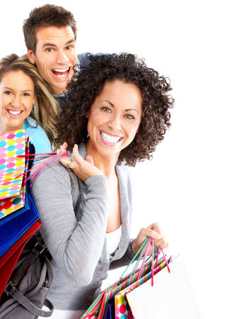 happy family shopping: Happy shopping people. Isolated over white background  Stock Photo