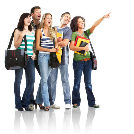 student university: Young smiling  students. Isolated over white background