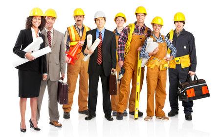 Jonge bouwer mensen in geel uniform. Geïsoleerde over witte achtergrond Stockfoto