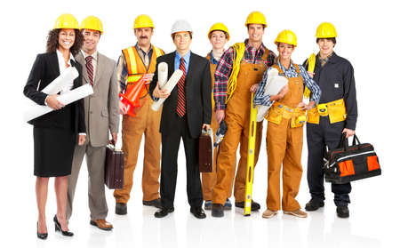 construction workers: Young builder people  in yellow uniform. Isolated over white background