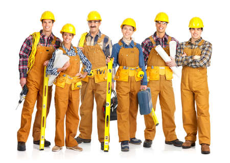 foreman industrial: Builder people  in yellow uniform. Isolated over white background  Stock Photo
