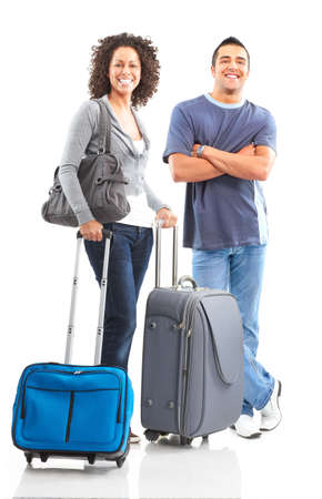 Happy smiling couple tourists. Over white background Stock Photo - 4987999