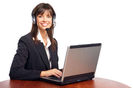 woman on phone: Beautiful  business woman with headset. Over white background