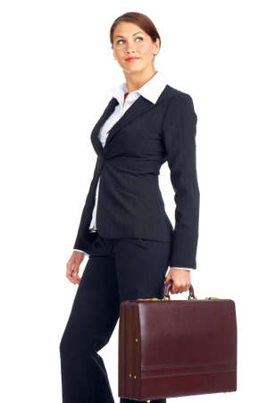 Smiling business woman. Isolated over white background Stok Fotoğraf - 4987987