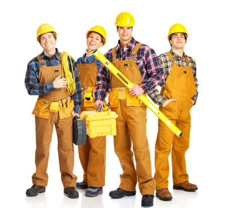 Industrial workers people. Isolated over white background  Stock Photo