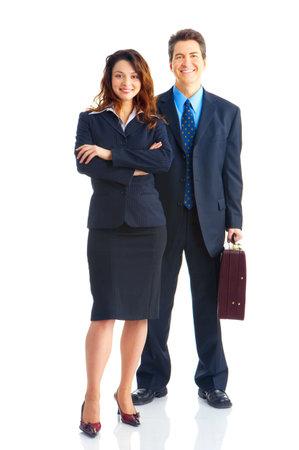 business case: Lachende jonge mensen uit het bedrijfsleven. Geïsoleerde over witte achtergrond Stockfoto