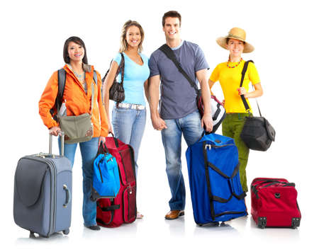 Happy smiling tourists. Over white background