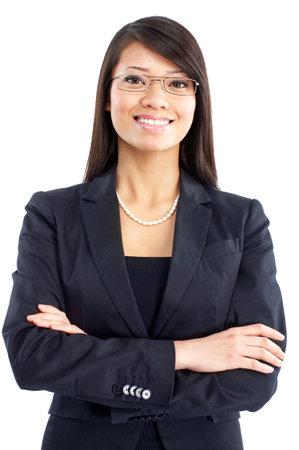 ビジネスの女性の笑みを浮かべてください。白い背景の上の分離