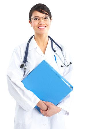 医者の聴診器に笑みを浮かべてください。白い背景の上の分離