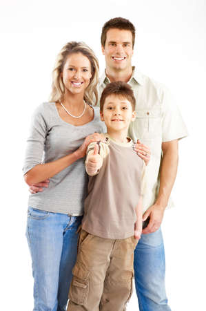 Happy family. Father, mother and boy. Over white background Stock Photo - 5038356