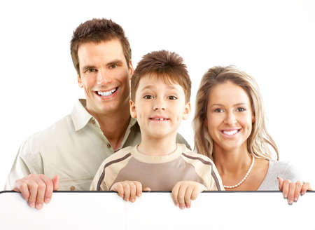 Happy family. Father, mother and boy. Over white background Stock Photo - 5038395