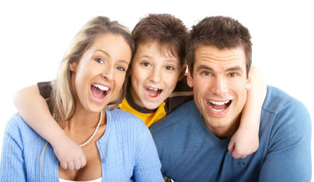 Happy family. Father, mother and boy. Over white background Stock Photo - 5038397