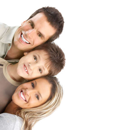Happy family. Father, mother and boy. Over white background Stock Photo - 5038399