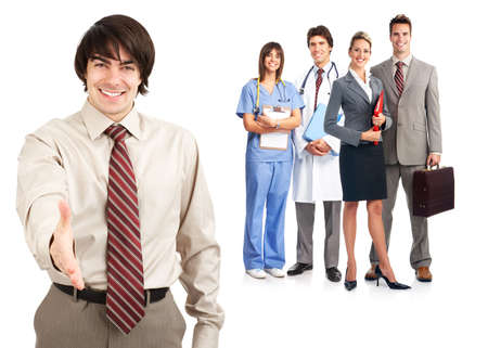 group of smiling worker people. Over white background