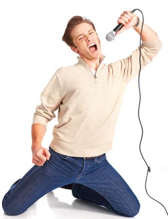 gente cantando: Feliz karaoke firmante. Aislado sobre fondo blanco Foto de archivo