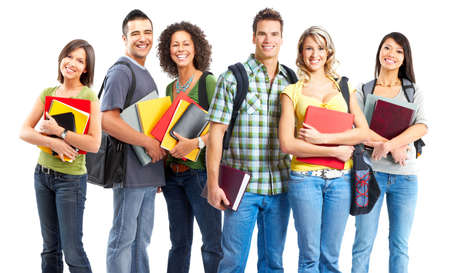 Large group of smiling  students. Over white background Stock Photo - 5069005