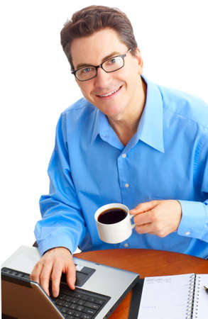 Smiling businessman with a cup. Isolated over white background  photo