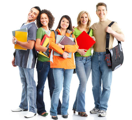 study group: Large group of smiling  students. Over white background