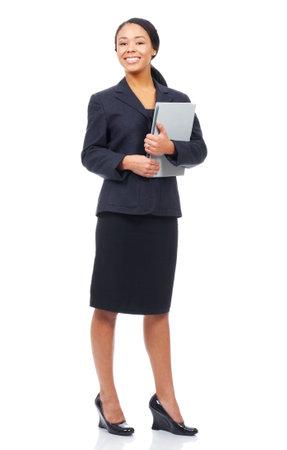 Succesvolle zakelijke vrouw. Geïsoleerde over witte achtergrond